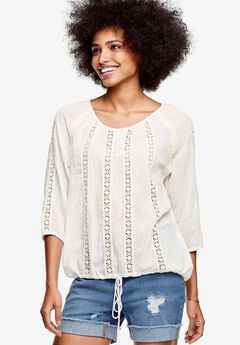 Crochet Lace Gauze Blouse by ellos®, IVORY, hi-res