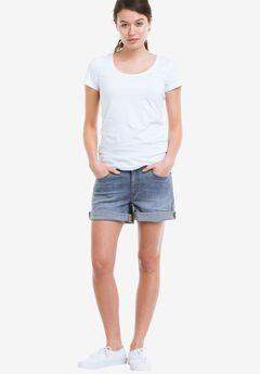 Rolled Hem Denim Shorts by ellos®, LIGHT STONEWASH, hi-res
