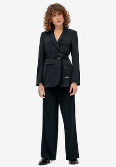Belted Soft Blazer by ellos®, NAVY/WHITE STRIPE