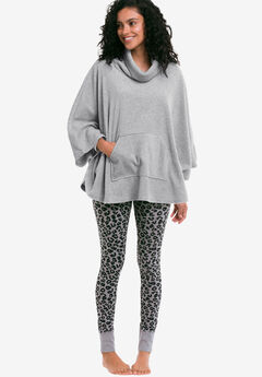Rib Trim Sleep Leggings by ellos®, HEATHER GREY BLACK ANIMAL