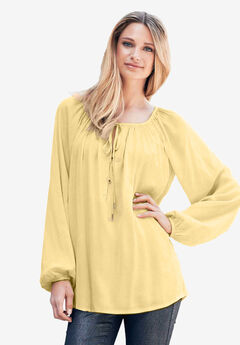 Tie Neck Peasant Tunic by ellos®, BANANA, hi-res