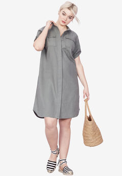 Button Front Linen Shirtdress by ellos®, OLIVE GREY, hi-res