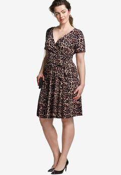 Wrap Dress by ellos®, NATURAL ANIMAL PRINT, hi-res
