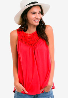 Sleeveless Lace Tank Top by ellos®,