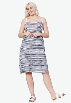Tank A-line Dress by ellos®, WHITE NAVY STRIPE