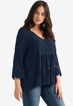 Dahlia Cutwork Blouse by Ellos®, NAVY, hi-res