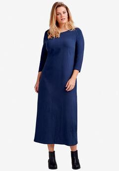 064e1c67c29e5 3 4 Sleeve Knit Maxi Dress by ellos®