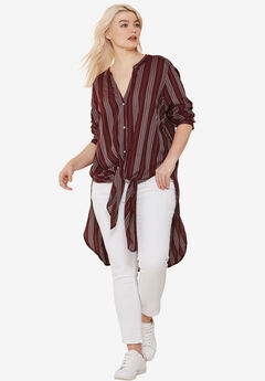 Button-Front Striped Tunic by Ellos®, MIDNIGHT BERRY STRIPE, hi-res