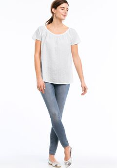 Ballet Neck Eyelet Blouse by ellos®, WHITE, hi-res