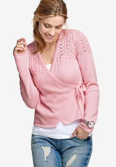 Pointelle Wrap Cardigan by ellos®, MISTY ROSE, hi-res