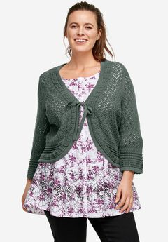 Tie Front Crochet Shrug by ellos®, PINE, hi-res