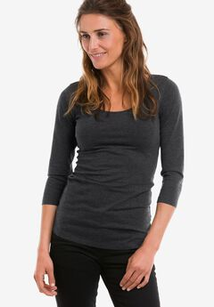 3/4 Sleeve Scoop Neck Tee by ellos®, HEATHER CHARCOAL, hi-res