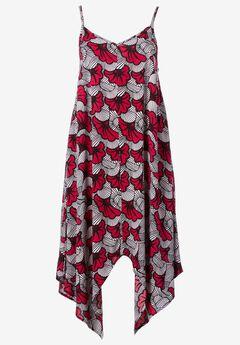 Printed Hanky Hem Dress by ellos®, CRYSTAL BERRY FLORAL