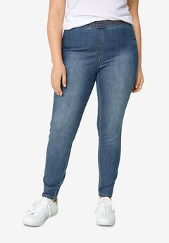 Elastic Waist Denim Jeggings,
