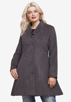 Notch Neck Fit and Flare Coat, HEATHER CHARCOAL, hi-res