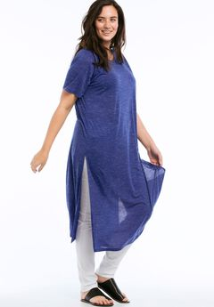 Space Dye Long Duster Tunic by ellos®, DARK SAPPHIRE, hi-res