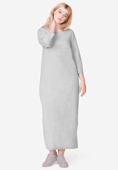 3/4 Sleeve Knit Maxi Dress by ellos®, HEATHER GREY, hi-res