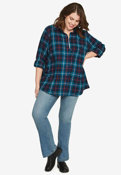 Plaid Flannel Shirt by ellos®, EXOTIC PEACOCK PLAID