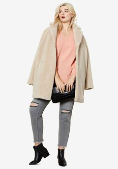 Teddy Faux Fur Coat by ellos®, STONE, hi-res