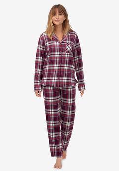 Plaid Flannel Pajama Set by ellos®, MIDNIGHT BERRY PLAID