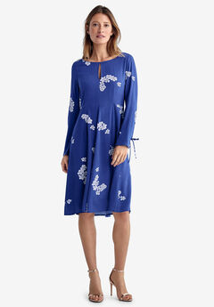 Cut-Out Back Dress by ellos®, BLUEBERRY WHITE FLORAL