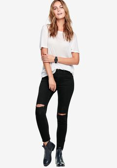 Ripped Knee Skinny Jeans by Ellos®, BLACK, hi-res