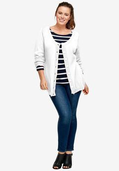 Scoop Neck Button Front Cardigan by Ellos®, WHITE, hi-res