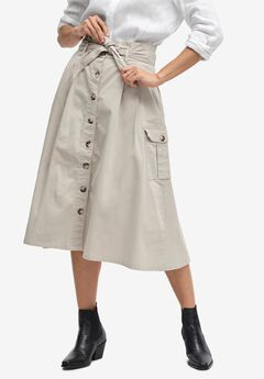 Button-Front Chino Skirt by ellos®,