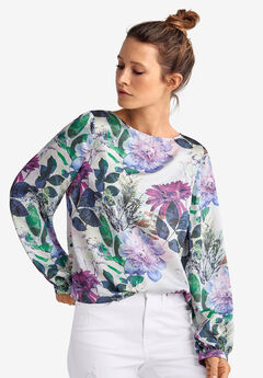 Blouson-Sleeve Satin Blouse by ellos®,