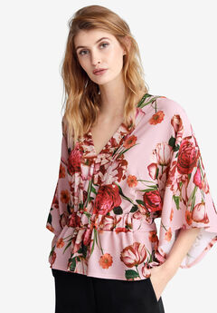 Kimono Sleeve Blouse by ellos®, ROSE MIST FLORAL