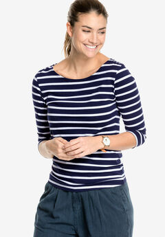 Striped Boatneck Tee by ellos®, NAVY/WHITE STRIPE, hi-res