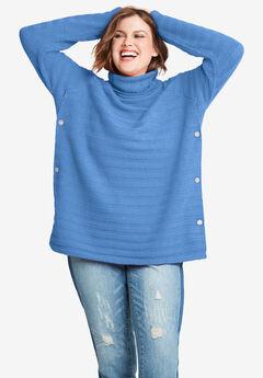 Side Button Turtleneck Sweater by ellos®,