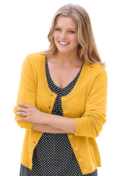 Scoop Neck Button Front Cardigan by ellos®,