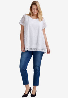 Floral Lace Short Sleeve Tunic by ellos®, WHITE, hi-res