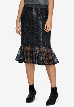 Sequin Flounce Hem Skirt by ellos®,