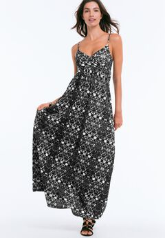 Knit Surplice Maxi Dress by ellos®, BLACK GREY PRINT, hi-res