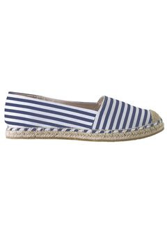 Striped Espadrille Flats by ellos®, NAVY/WHITE STRIPE, hi-res