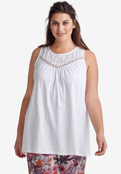 Sleeveless Lace Tank Top by Ellos®, WHITE, hi-res