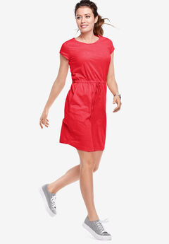 Knit Drawstring Dress by ellos®, HOT RED