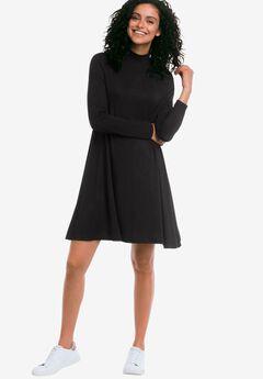 Mock Neck A-Line Dress by Ellos®, BLACK, hi-res