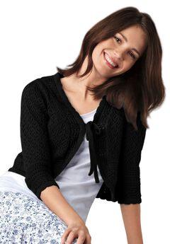 Tie Front Crochet Shrug by ellos®, BLACK, hi-res
