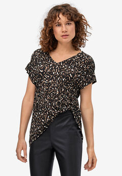Gathered Sleeve Top by ellos®, ANIMAL PRINT