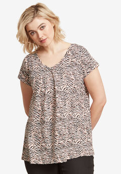 Twisted V-neck Tee by ellos®, MULTI ANIMAL PRINT