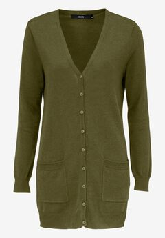 Boyfriend Cardigan by ellos®, DARK BASIL, hi-res