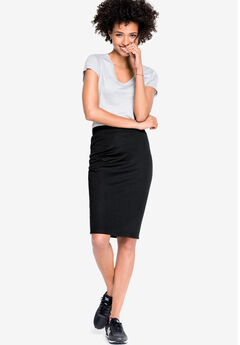 Ponte Pencil Skirt by ellos®, BLACK
