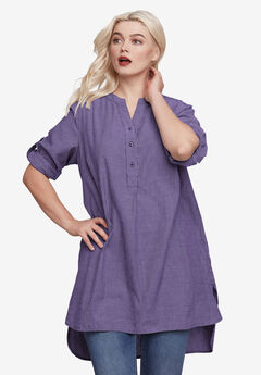 Striped Henley Tunic by ellos®, MIDNIGHT VIOLET STRIPE, hi-res