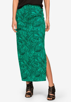 Long Knit Elastic Waist Skirt by ellos®, WATERFALL PRINT, hi-res
