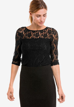 Sheer Yoke Lace Top by ellos®,