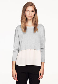 Mixed Media Sweater by ellos®, HEATHER GREY WHITE, hi-res