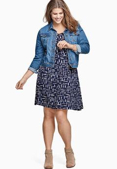 Short Sleeve A-Line Knit Dress by Ellos®, NAVY PRINT, hi-res
